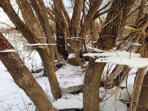 8. Застывший лед после наводнения