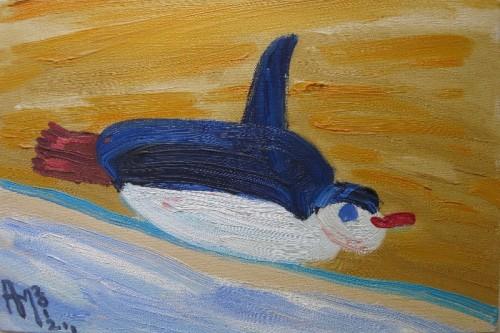 Артур Молев, Пингвин. 2012. Х,,м. 20х30