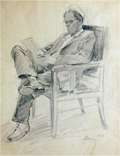 A.Romanychev.Портрет Ю.Непринцевa 1957