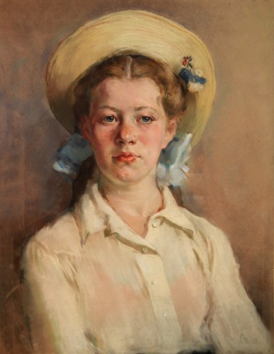 S.Petrov. Portrait of a girl.1950