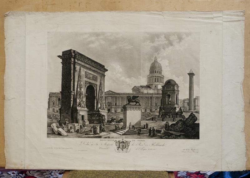 Регина Катарина Карей (около 1762 – около 1818) по живописному оригиналу 1789 года Гюбера Робера (1733–1808), Монументы Парижа, Около 1805, Акватинта, ГМИ СПб.