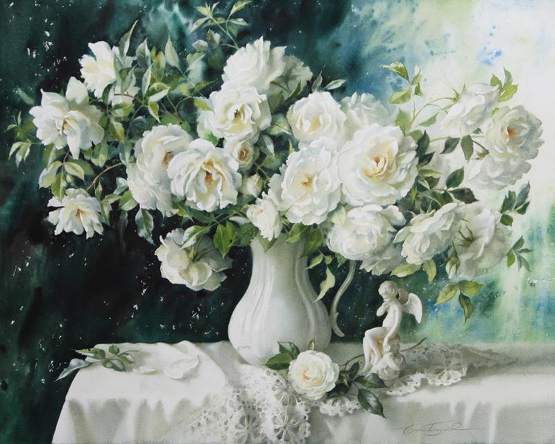 Е. Базанова. Белые розы. Бумага, акварель. 2015