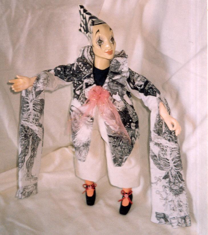 Е. Новикова. Арлекинесса. Кукла. Керамика, текстиль