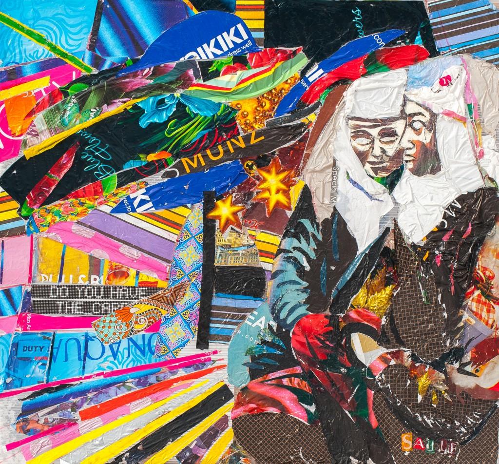 Сауле Сулейменова  Аруахи. 2016 г. Пластиковые пакеты, полигаль. 105х115 см.